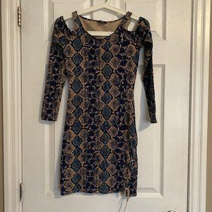 Guess Python Print Long Sleeve Bodycon Dress
